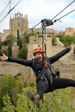 Zip line in Toledo on the Tagus river